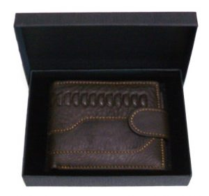 coffee leather wallet holds cards coins banknotes with gift box