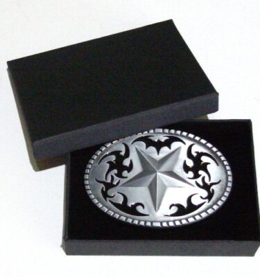 western star brushed silver removable belt buckle with gift box
